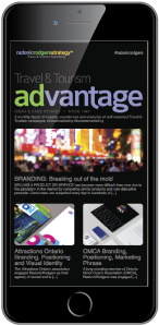 iphone 6 with Travel and Tourism Advantage digest on the screen